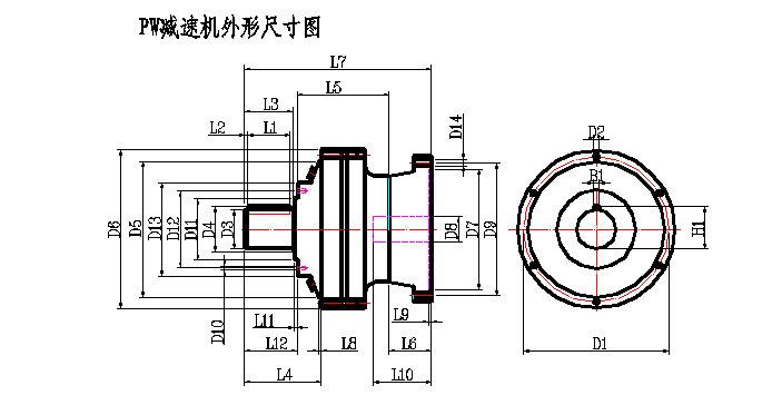 PW型行星减速机的外形尺寸图