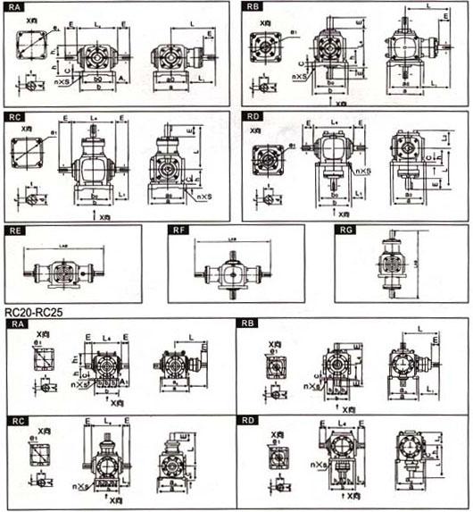 RC系列螺旋伞齿轮转向箱尺寸图表