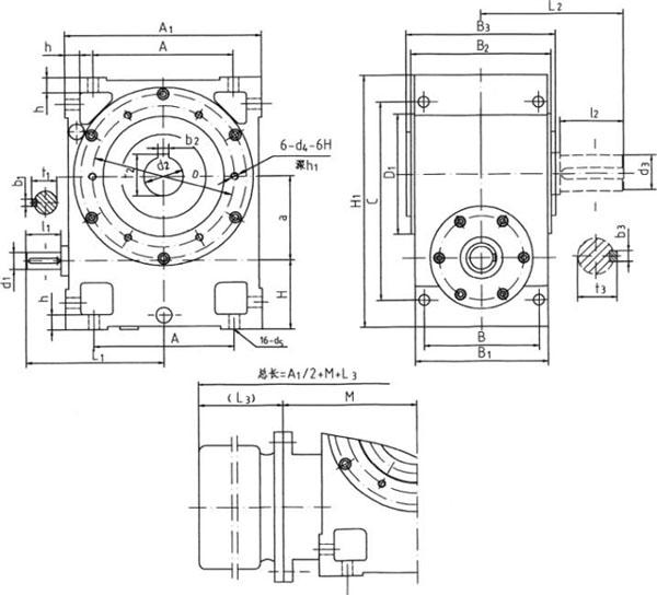 多面安装圆弧圆柱蜗杆减速器外形结构尺寸
