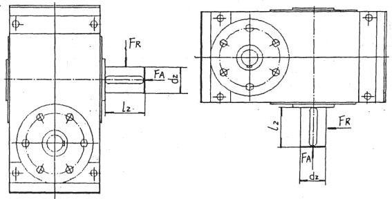 多面安装圆弧圆柱蜗杆减速机减速器输出轴轴端许用负荷