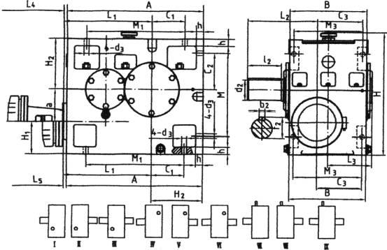 CWGL、CWGZ型减速器的装配型式及外形尺寸