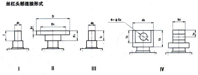 YWJ63、YWJ80、YWJ100、YWJ125、YWJ160、YWJ200型蜗轮丝杠升降机丝杠头部联接形式