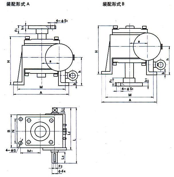 WJ63、WJ80、WJ100、WJ125、WJ160、WJ200型蜗轮丝杠升降机外形安装尺寸