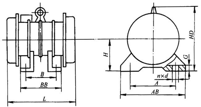 YJZ系列激振异步电动机(2~140KN)外形尺寸